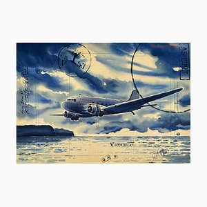 Jack Learoy, Starbrook Airlines, Coming in Over the White Sand, 1995, Lithographie auf BFK Rives Papier