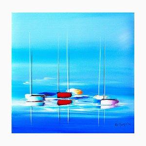 Eric Munsch, Balade sur un océan bleu, 2021, Öl auf Leinwand