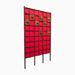 Rote italienische Mid-Century Garderobe aus Holz, 1960er