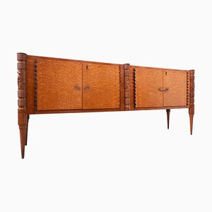 Large Italian Wooden Sideboard with 4 Doors by Pier Luigi Colli, 1940s