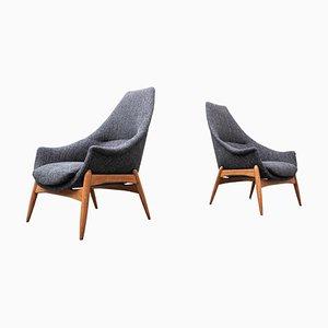 Grey Fabric Armchairs by Julia Gaubek, Hungary, 1950s, Set of 2