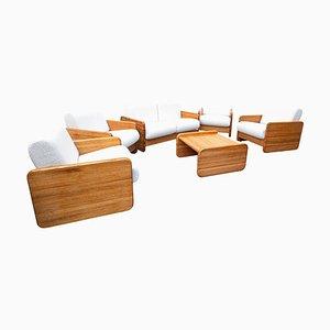 Juego de salón italiano Mid-Century moderno de madera sintética blanca y roble, años 60