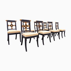 Empire Style Black and Gold Dining Chairs, Belgium, Set of 8