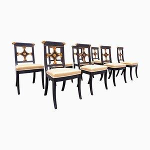 Sillas de comedor estilo Imperio en negro y dorado, Bélgica. Juego de 8