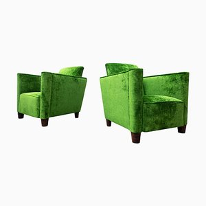 Green Velvet Club Armchairs, 1940s, Set of 2