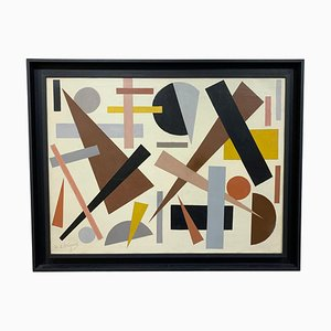 Geometric Abstraction Oil on Canvas by Armilde Dupont, Belgium, 1970s