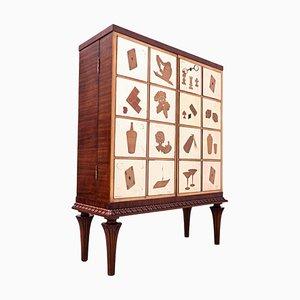 Mueble bar italiano Mid-Century moderno de madera y vidrio, años 50