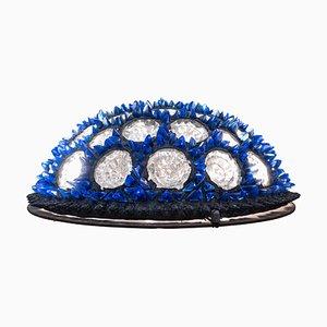 Blaue italienische Mid-Century Modern Deckenlampe aus Muranoglas, 1970er
