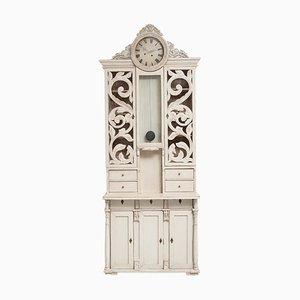 Swedish White Clock Bureau Cabinet