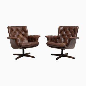 Swedish Mid-Century Modern Dark Brown Leather Armchairs, Set of 2