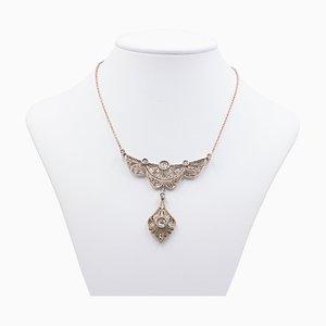 Collar Liberty de oro de 14 k con diamantes talla rosa, años 10