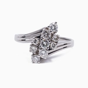 Vintage 18 Karat Goldring mit 9 Diamanten im Brillantschliff, 1960er