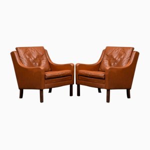 Mid-Century Danish Cognac Leather Lounge Chairs, 1960s