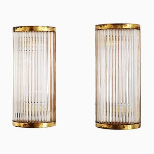Italian Art Deco Style Wall Sconces with Glass Rods and Brass, Set of 2