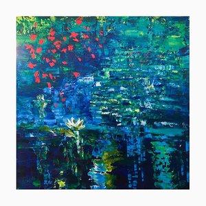 Wasserlilien 113, 2021, Acryl auf Leinen