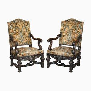 Italian Hand Carved Walnut Throne Armchairs, 1860s, Set of 2