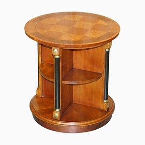 Mesa librería giratoria Biedermeier sueca de madera nudosa satinada