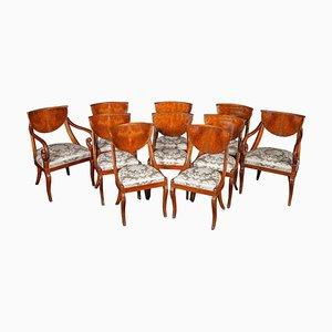 Italienische Esszimmerstühle mit 2 Armlehnstühlen, 1790er, 10er Set