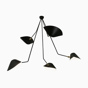 Black Five Curved Fixed Arms Spider Ceiling Lamp by Serge Mouille