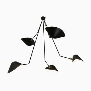 Lámpara de techo Spider de cinco brazos curvos en negro de Serge Mouille