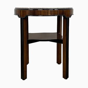 Art Deco Walnut Veneer Side Table Stained in Rosewood with Marble Top, Germany, 1925