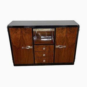 Art Deco Cabinet with Veneer and Mirrored Compartment