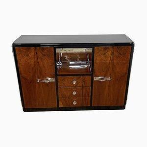 Art Deco Furnier Schrank mit verspiegeltem Fach