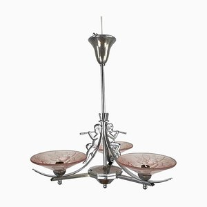 Art Deco Chrome & Pink Glass Lamp with Angel Motif and Floral Pattern from Mueller Freres Luneville, France, 1920s