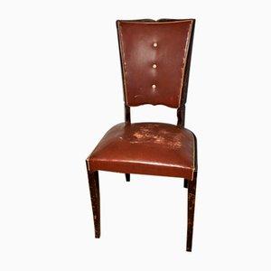 Art Deco Stuhl aus rotem Leder, Frankreich, 1930er