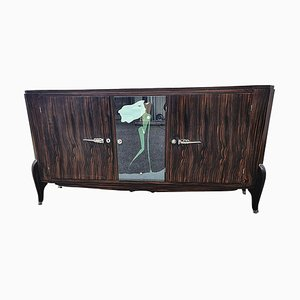 Art Deco Sideboard in Macassar with Painted Mirror, France, 1920s
