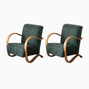 Mid-Century Green Armchairs, Set of 2