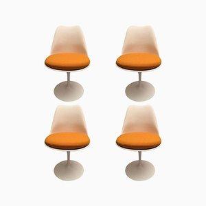Orangefarbene Tulip Chairs von Eero Saarinen für Knoll, 1970er, 4er Set