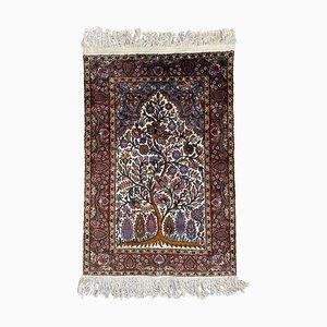 Kleiner indischer Vintage Teppich aus edler Seide
