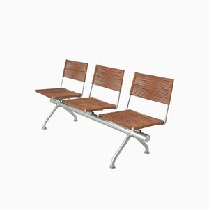 Leather and Metal Bench with Three Chairs, 1970s