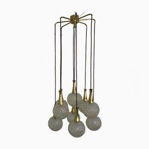 German Glass & Brass Cascade Ceiling Lamp, 1960s