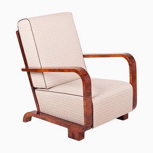 Art Deco Armlehnstuhl aus Nussholz in Weiß, 1920er