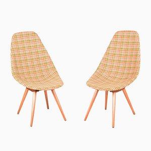 Mid-Century Czech Beech & Fabric Chairs by Miroslav Navratil, Set of 2