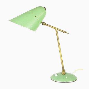 Verstellbare Mid-Century Tischlampe aus Metall & Messing in Aquagrün