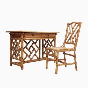 Vintage Rattan Schreibtisch von Vivai del Sud, 1970er, 2er Set