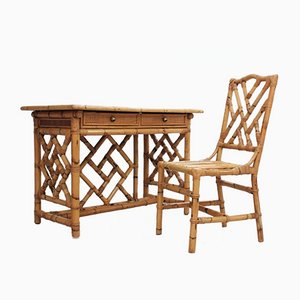 Vintage Rattan Writing Desk from Vivai del Sud, 1970s, Set of 2