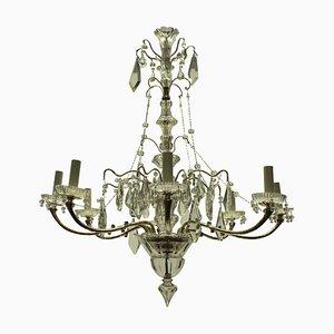 Lámpara de araña francesa de plata y vidrio tallado, años 30