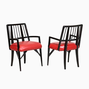 Leather and Wood Chairs by Paul Laszlo, Set of 4