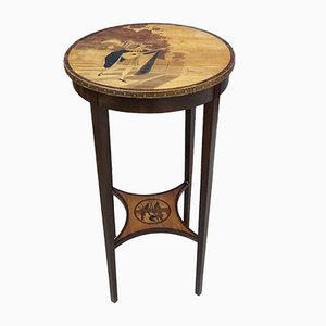 Art Deco Wooden Plant Stand with Painting