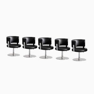 Stahl & Leder Stühle von Formanova, Italien, 1970er, 5er Set