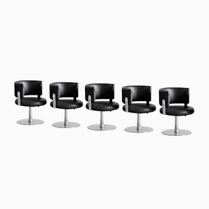 Steel & Leather Chairs by Formanova, Italy, 1970s, Set of 5