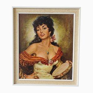 Torino, La Bella Dorita, 1960s, Oil on Canvas, Framed