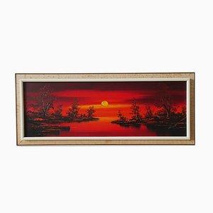 Sunset Landscape, 1960er, Öl auf Leinwand, gerahmt