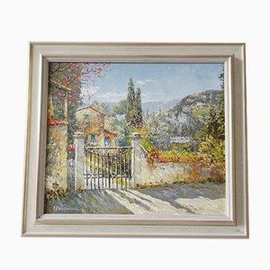 Landschaftsmalerei, 1950er, Öl auf Leinwand, gerahmt