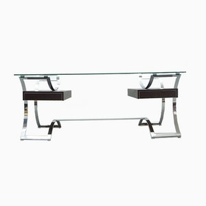 French Regency Chrome and Leather Desk from Dassas, 1960s