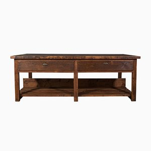 Large Antique Victorian Pine Craftsman's Table or Kitchen Island
